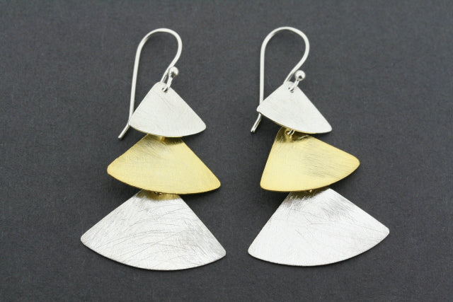 gold plated & silver 3 triangle drop earring