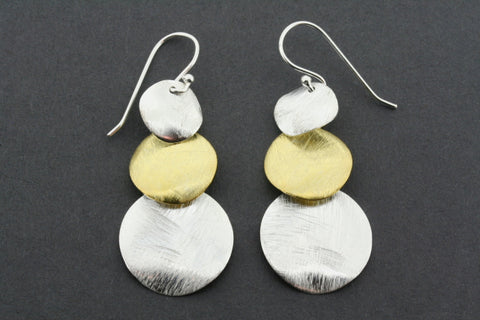 gold plated & silver 3 circle drop earring