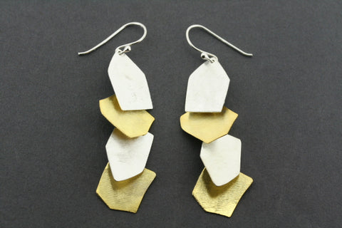 4 x shard earring - gold plated & silver