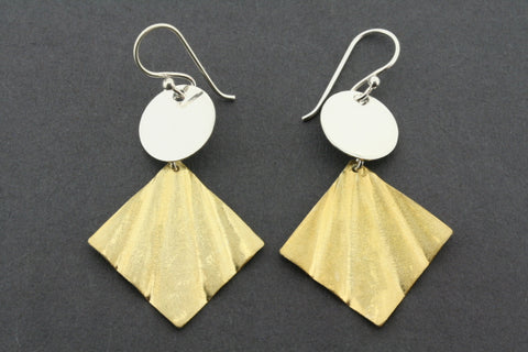 silver disc and gold plated pleat drop earring
