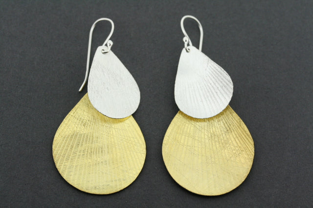 gold plated & silver double teardrop earring