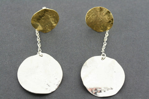silver & gold plated disc & chain earring