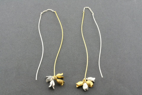 gold plated & silver long drop chain earring