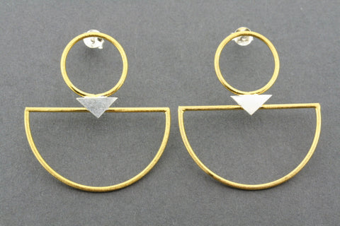 gold plated & silver deco hoop