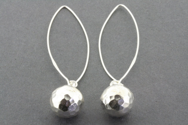 battered ball long drop earring - pure silver