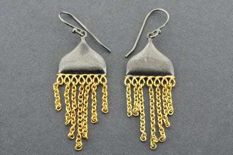 Beja earring - gold plated & oxidized