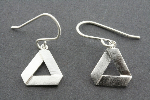Cutout triangle folded earring - sterling silver