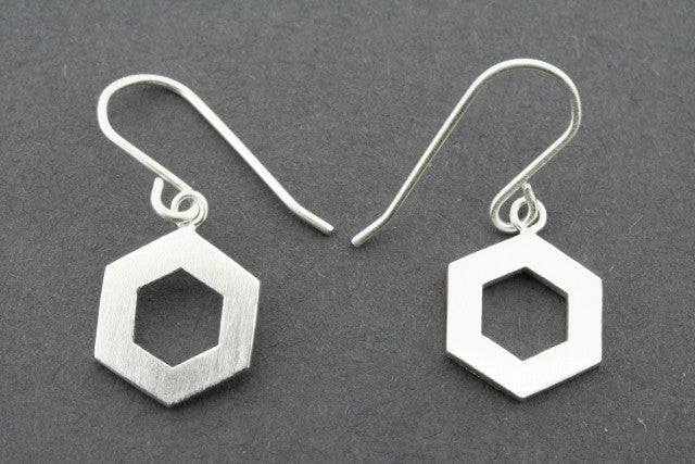 Cutout hexagon earring - sterling silver