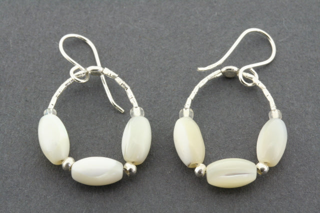 3 x mother of pearl hoop earring