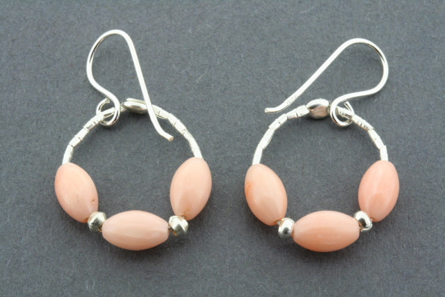 3 x rose quartz hoop earring