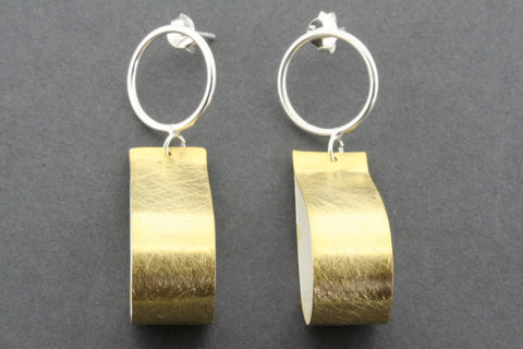 teardrop ribbon earring - gold plated