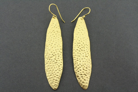 battered olive leaf earring - gold plated