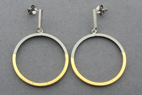 deco bar and hoop earring - gold plated & oxidized