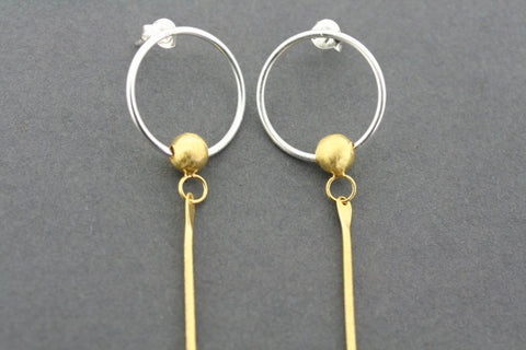 circle with swivel bead & long drop earring - gold plated
