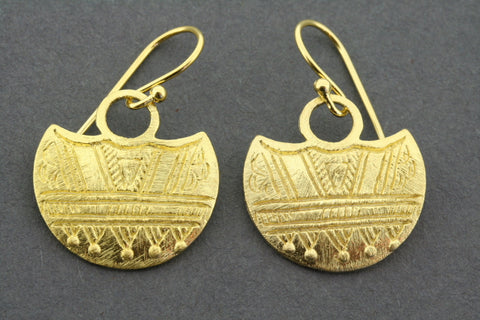 Mini touareg shield earring - gold plated