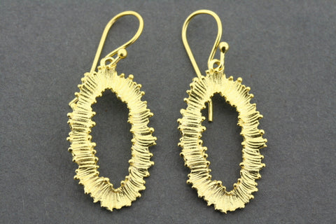feathered almond earring - gold plated
