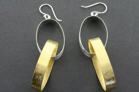double oval ribbon earring - gold plated