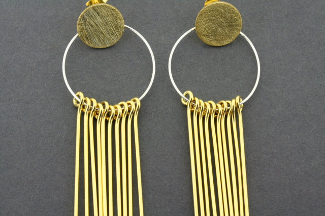circle & 10 drop earring - gold plated