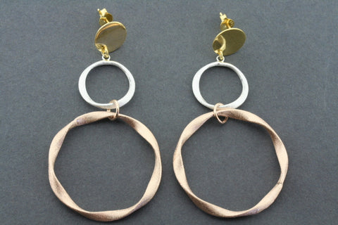 2 folded circle drop earring - rose gold & gold plated