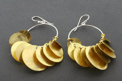 9 disc on hoop earring - gold plated