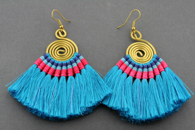 silk tassle earring - blue