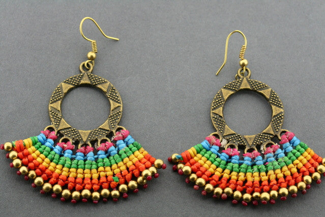 crochet earring - rainbow