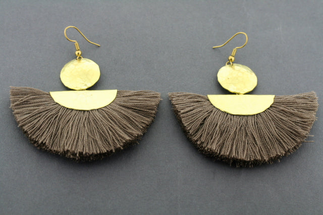 battered brass circle & half moon tassel earring - coffee