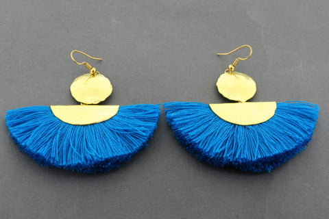 battered brass circle & half moon tassel earring - blue