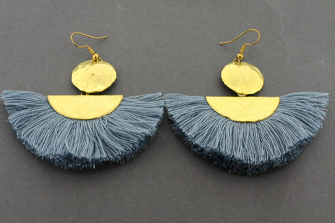 battered brass circle & half moon tassel earring - grey