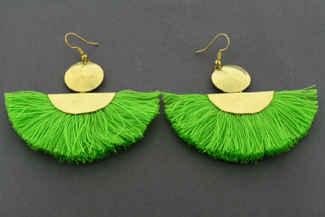 battered brass circle & half moon tassel earring - lime
