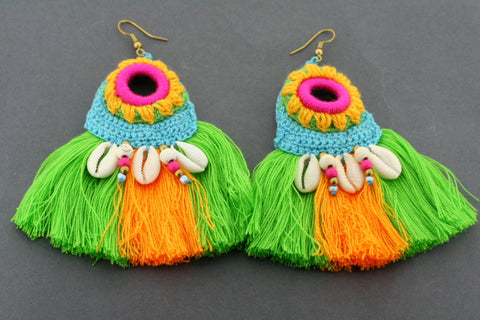 colourful tassel & shell earring - green/gold
