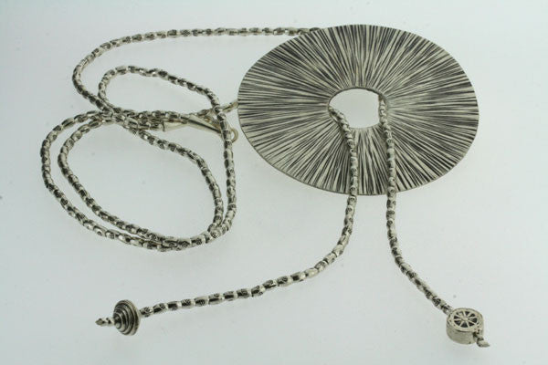 beaded necklace with disc pendant