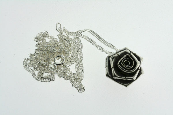 folded rose pendant on 55cm singapore chain