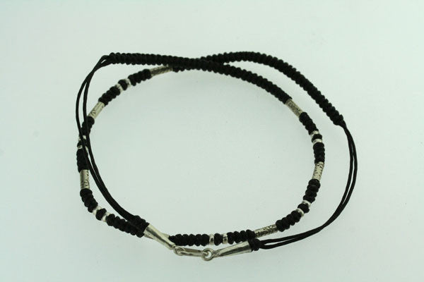 black thread & silver bead necklace
