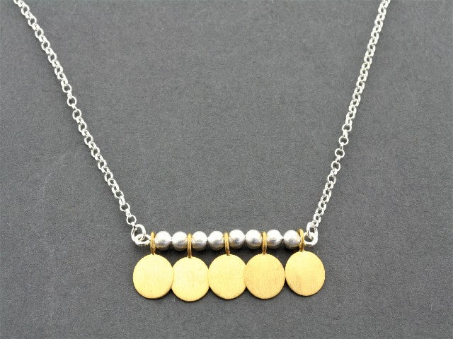 5 disc necklace - gold plated