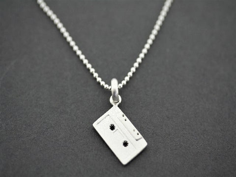 Tape cassette  pendant on 45 cm ball chain - sterling silver