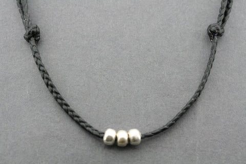 slip knot necklace - 3 bead - black