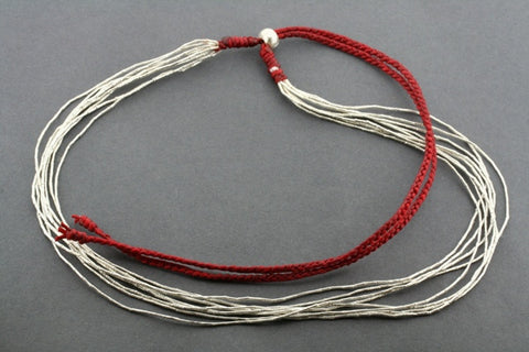 8 silver strand necklace - red