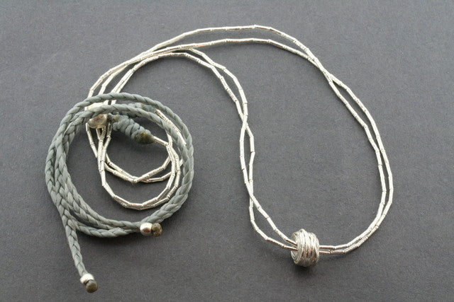 2 strand silver necklace - reel - grey