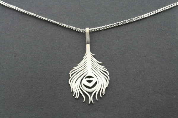 peacock feather pendant on 60cm link chain