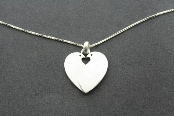 Two Bird Heart Necklace in Sterling SIlver