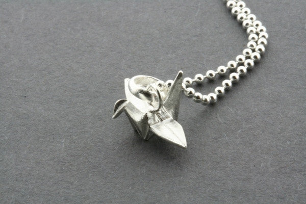 oragami crane pendant on 45cm ball chain
