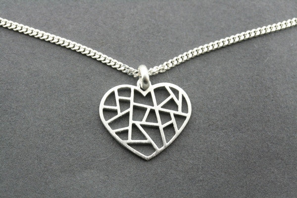 mosaic heart pendant on 55cm link chain