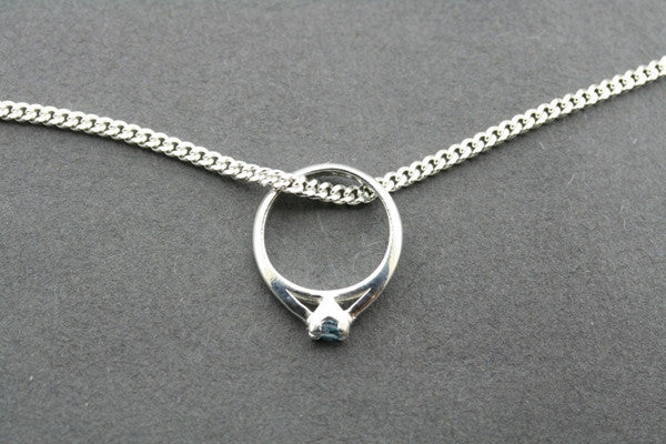 little ring pendant - blue topaz on 45cm link chain