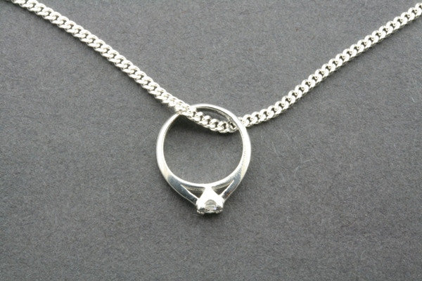 little ring pendant - cubic zirconian on 45cm link chain