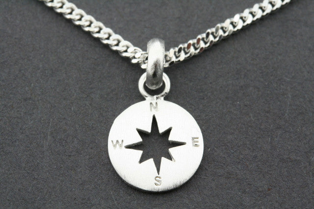 Compass pendant on 45 cm link chain - sterling silver