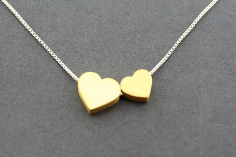 double heart necklace - gold plated
