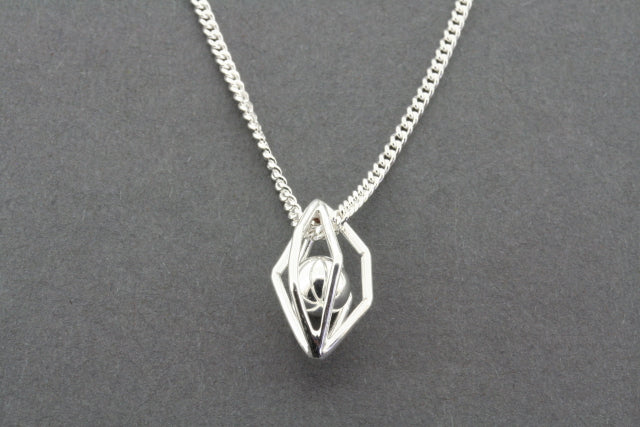 silver cage and ball pendant on 60 cm link chain