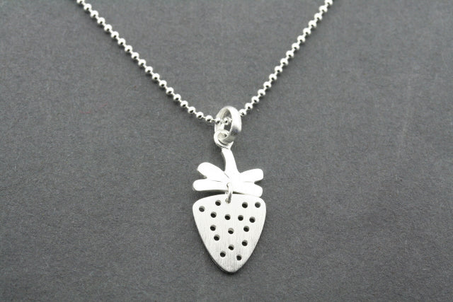 2 piece strawberry pendant on 45 cm ball chain