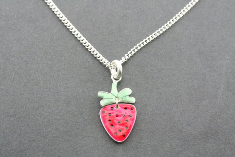 2 piece strawberry pendant - enamel on 45 cm link chain